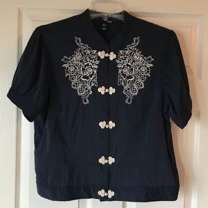 Navy Embroidered H&M Short Sleeved Top